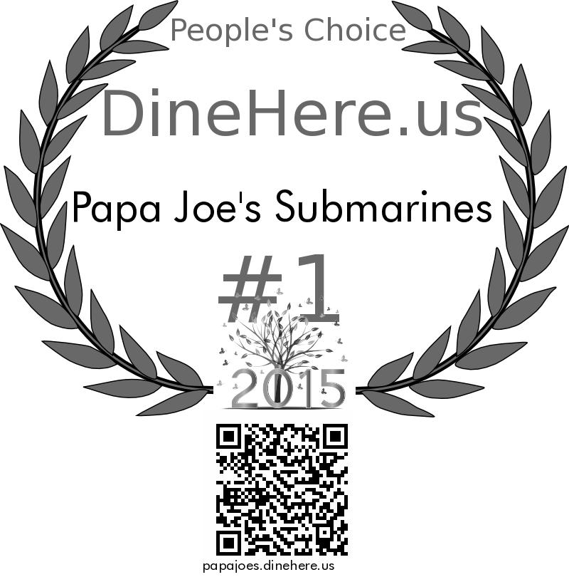 Papa Joe's Submarines DineHere.us 2015 Award Winner